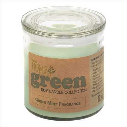 Green Mint Scented Glass Jar Earth Friendly Soy Candle