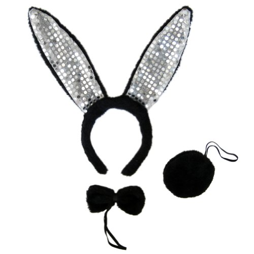 Black Plush Sequin Bunny Ears