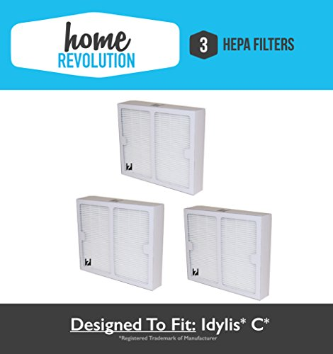 3 Idylis B Hepa Home Revolution Brand Air Purifier Filter 3 Pack; Replacement Made To Fit Idylis IAP-10-125, IAP-10-150; Model # IAF-H-100B, IAFH100B