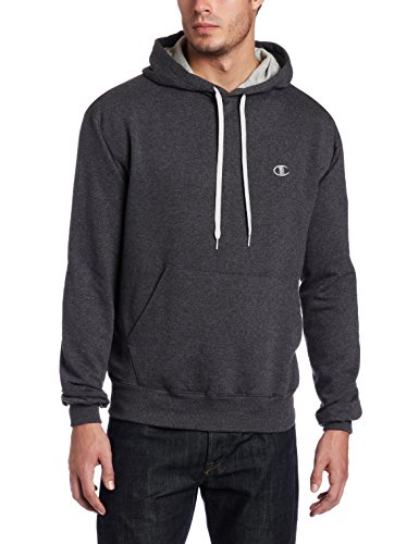 Champion Men's Pullover Eco Fleece Hoodie, Granite Heather, Large