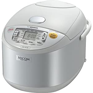 Zojirushi NS-YAC18 Umami Micom Rice Cooker and Warmer, Pearl White