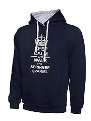 Keep Calm And Walk The Springer Spaniel Dog Navy Blue & Heather Grey Contrast Hoody