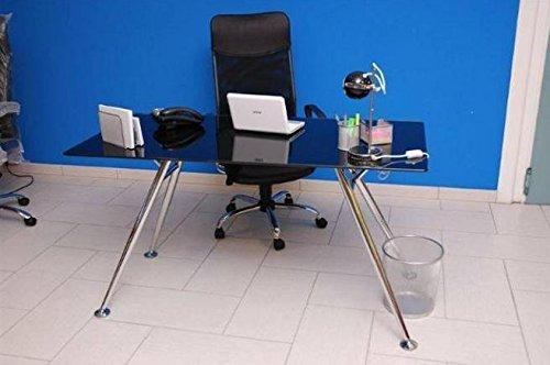 Ufficio scrivania Porta Pc mod. Mega colore nero in acciaio e vetro temperato