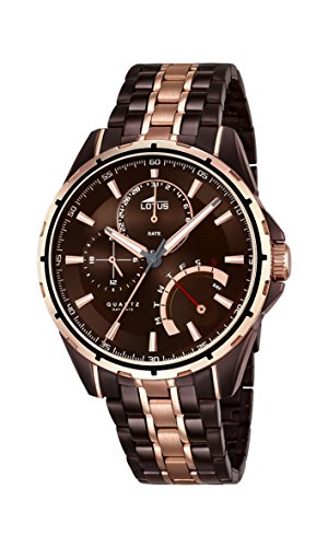 Lotus Men's Quartz Watch with Brown Dial Analogue Display and Two Tone Stainless Steel Plated Bracelet 18206/1