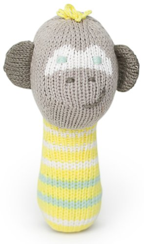 Finn + Emma Organic Cotton Baby Neutral Mini Rattle - Monkey