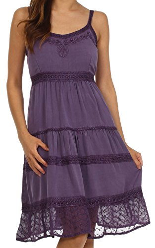 Sakkas Bo6054 Julianne Embroidered Rayon Dress - Purple - One Size
