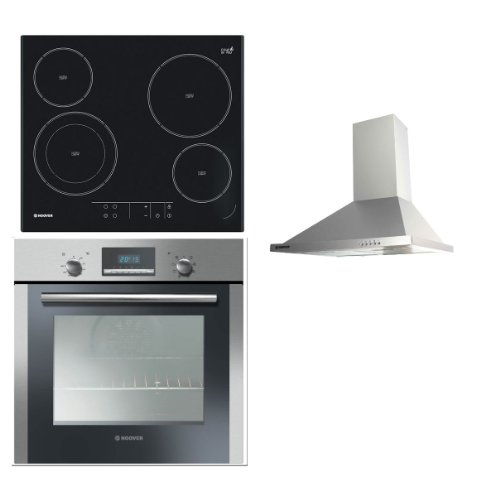 Hoover Built-in Multi Function Oven HOC709/6X, Touch Control Hob HVE642 and HECH616X 60CM Stainless Steel Chimney Hood