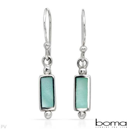 BOMA Wonderful Earrings With Genuine Mother of pearls Beautifully Designed in 925 Sterling silver Length 25mm