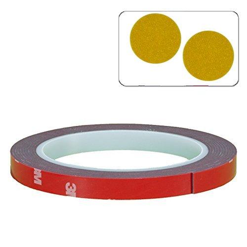 DonDo-3M-4218P-Doppelseitiges-Klebeband-Scotch-Montageklebeband-Hochleistungsklebeband-extra-stark-10mm-3-Meter-2x-3M-610C-Reflektionspunkte-Gelb