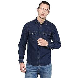 Atorse Mens Blue Denim Casual Shirt