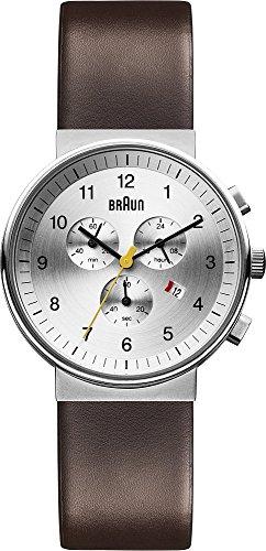 Braun  BN0035SLBRG - Reloj de cuarzo para hombre, con correa de cuero, color marrón