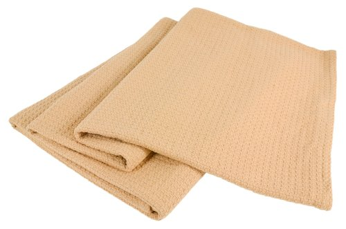 Elite Home Grand Hotel All-Natural 100-Percent Cotton Basket Woven Blanket Full/Queen Size, Camel