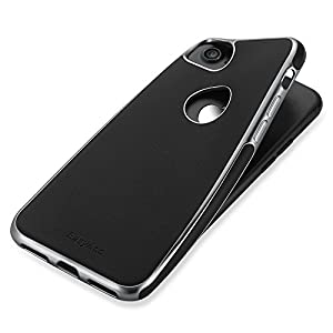 EasyAcc iPhone 7 TPUケース 高品質レザーカバー ソフトケース メッキ加工 ブラック