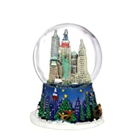 2.5 Inch Mini New York City Christmas Snow Globe and Rockefeller Center Skyline NYC Snow Globes