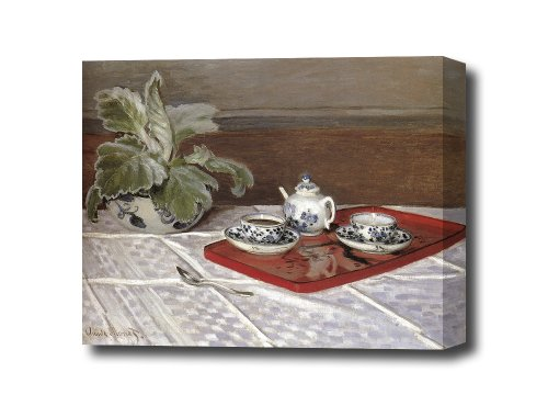 Monet - The Tea Set Reproduction Canvas Art Print, Ready To Hang 22 X 16