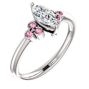 18K White Gold Marquise Cut Diamond and Pink Sapphire Engagement Ring