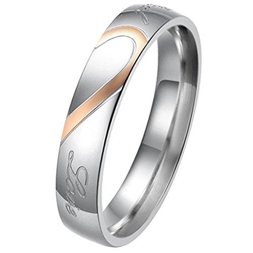 """JewelryWe Gioielli anello da uomo donna acciaio inossidabile promessa """"Real Love"""" e amore cuore dipinto fidanzamento matrimonio Bands (donna misura P)"""