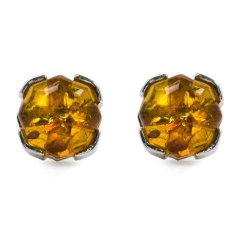Sterling Silver Honey Amber Prong Stud Earrings