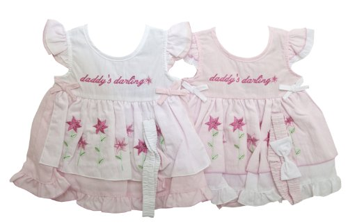 Baby Girls Embroidered Daddys Darling Design Dress, Pants and Headband Clothing Set (3-6 Months) (Pink)