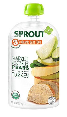Sprout Organic Foods Stage 3 Pouches, Market Vegetables & Pear with Turkey, 4.5 Ounce (Pack of 5)