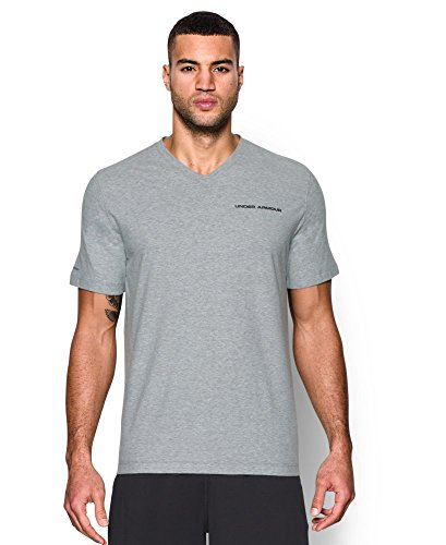 Under Armour Men's Charged Cotton V-Neck, True Gray Heather (025), Large