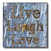 Blue Abstract Live Laugh Love Inspiration - Wall Clocks