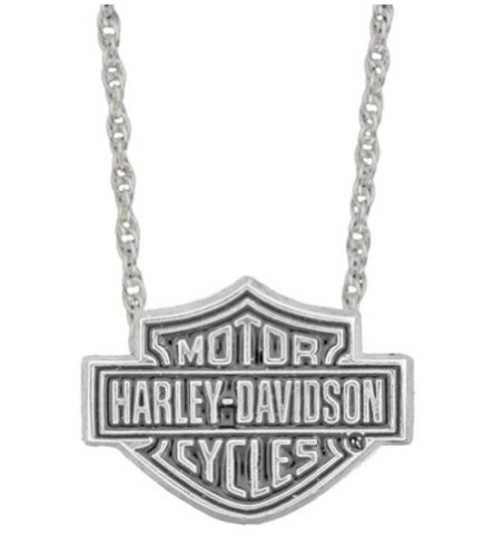 Harley-Davidson Stamper Women's Sterling Silver Bar & Shield Necklace HN7179