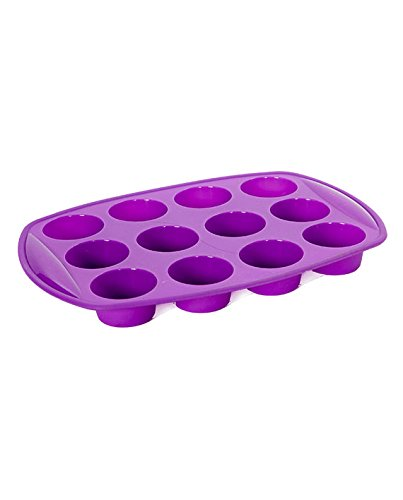 Elbee Silicone Deep Cup Muffin Pan, 12 Cup Muffin or Cupcake Mold / Baking Tray (Purple Cupcake Pan compare prices)