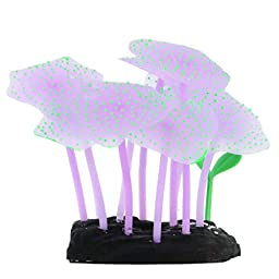 Gresorth Luminous Effect Fake Coral Tree for Fish Tank Aquarium Decoration Underwater Plant Landscape - Purple