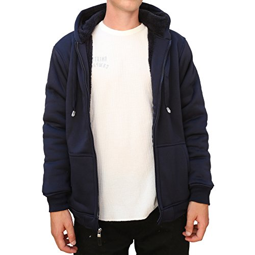 Maxxsel Mens Sherpa Heavy Polar Fleece Lined Zip Up Hoodie Jacket (XXXXX-Large, Navy) (Canada Zip Up Hoodie compare prices)