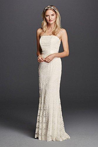 Wedding Dress Petite Beaded Lace Sheath with Godet Inserts Style 7VW9340,...