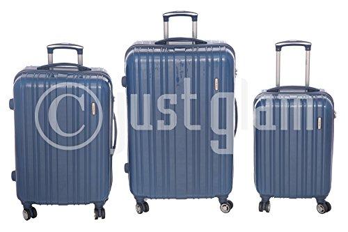 JustGlam - Set 3 Trolley 888 valigie rigide in ABS policarbonato 4 ruote piroettanti , bagaglio piccolo da cabina , chiusura con lucchetto TSA per dogana americana