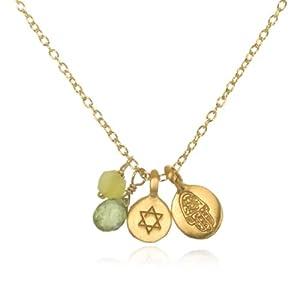"Satya Jewelry ""Classics"" Mini Jade Star of David Hamsa Necklace, 18"""