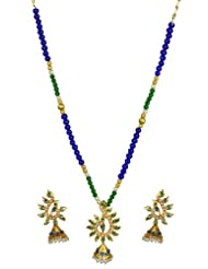 Kshitij Jewels Blue Green Metal Pendant Jewellery Set For Women (KJM 067)