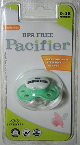 "BooginHead ""Tax Deduction"" Light Green BPA Free Pacifier 0-18 months"