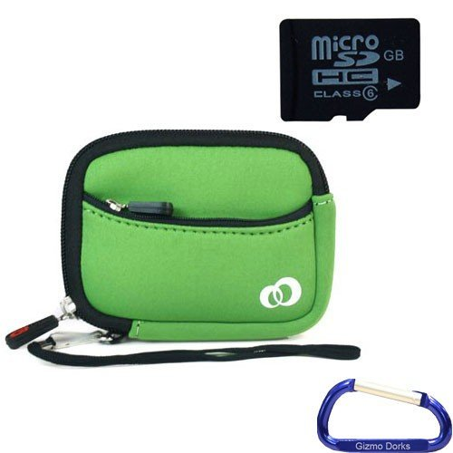 Gizmo Dorks Soft Neoprene Zipper Case (Green) and 16 GB microSD Memory card (SD Adapter included) with Carabiner Key Chain for Digital Cameras