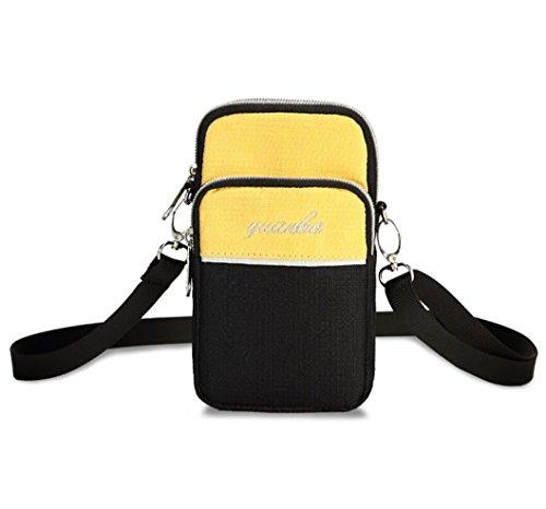 Mini Outdoor Satchel Bag Single Shoulder Bag For Purse Cellphone Key Certificate Waist Bag (Yellow)