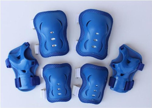Check Out This Fantasycart Kid's Roller Blading Wrist Elbow Knee Pads Blades Guard 6 PCS Set in Blue