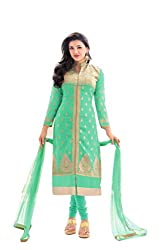 Kmozi Turquoise Color Designer Dress Material