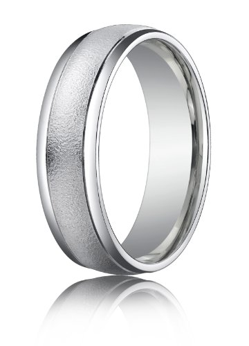 14K White Gold, 6mm Comfort Wired-Finished Polished Round Edge Band (sz 6.5)