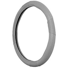 Leather Steering Wheel Cover, Gray