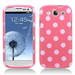 Aimo SAMI9300PCPD304 Cute Polka Dot Hard Snap-On Protective Case for Samsung Galaxy S3 i9300 - Retail Packaging - Light Pink/White