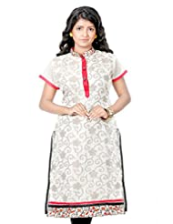 B3Fashion Designer Party Wear Silk Blended Cotton With Matte Zari Floral Weaves All Over Kurti