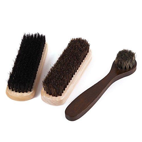 (キロネクス) KiloNext 靴磨き ブラシ 3点セット 馬毛ブラシ 豚毛ブラシ 馬毛ハンドルブラシ シューケア