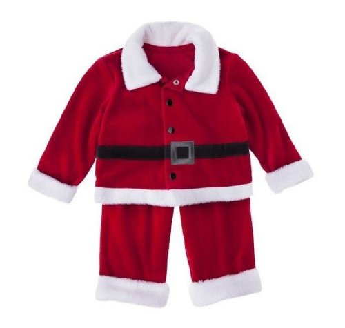 Newborn Boys Red 2 Piece Christmas Soft Velour Santa Suit Outfit