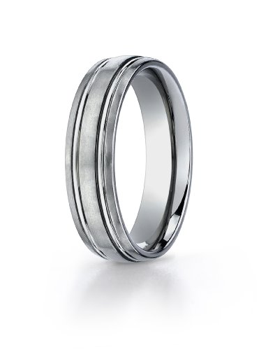 Men's Titanium 6mm Comfort Fit Band with Satin Finish Featuring Two High Polish Concave Cuts in the Center, Size 12