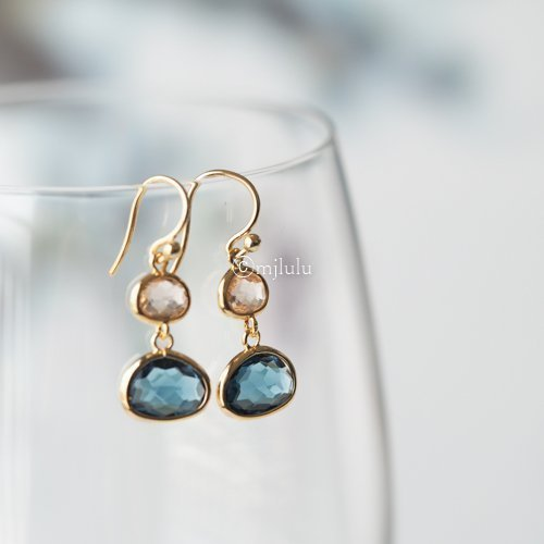 Crystal-Glass-Blue-Sapphire-and-Lt-Topaz-Drop-Earrings
