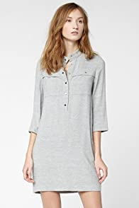 Roll Sleeve Woven Shirt Dress With Pique Texture