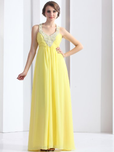 Landybridal 2013 New Style Empire Beaded Halter Neck Floor Length Chiffon Yellow Evening Dress F12065