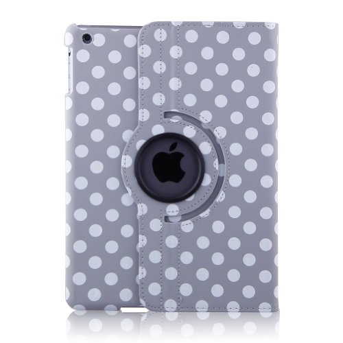 Generic All-New Pu Leather Luxury Stylish Slim-Fit Ultra Lightweight 360 Degrees Rotating Swivel Stand Polka Dot Pattern Design Series Smart Cover Case Support Auto Sleep/Wake Feature Protection Magenetic Function & Multi-Angle Viewing For New Ipad 5 Ipad